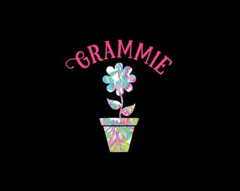 Pretty Printed Flower with Flower Pot and Custom Lettering Decal!  Car Decal, Nursery Decor, Bedroom Decor, Gift for Mom and Grandma!