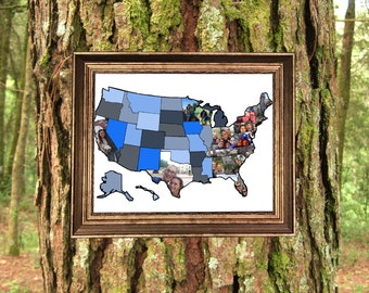 Custom Photo Collage US Map