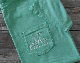 Sorority shirts, Delta Zeta, Sorority T Shirt, Sorority Bid Day, Pocket T Shirt, Monogrammed Pocket T, Personalized T Shirt