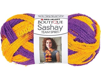 Red Heart Boutique Sashay Team Spirit Yarn Purple/Gold, 3.5oz, 100g, 2 Skeins