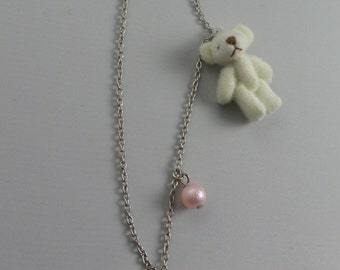 Resin necklace with bow or chocolate and teddy bear