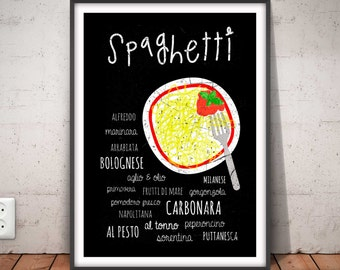 SPAGHETTI poster, pasta print, pasta printable, spaghetti decor, kitchen art, restaurant wall art, food poster, italian kitchen, chef, #5002