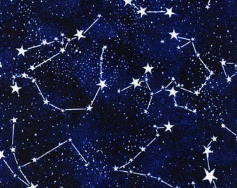 Constellations - Timeless Treasures Constellations Glow in the Dark Constellations - 10.50 Yard - Space Galaxy