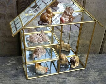 Vintage Brass and Glass Mirrored Curio Display Case Terrarium House. Wade Whimsies Included.