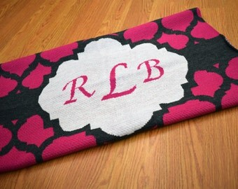 Monogram Moroccan Knit throw