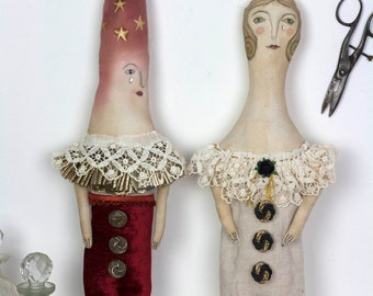 Circus Doll Helga Harlequin- hand made vintage textile figurine wall fantasy artist doll ornament