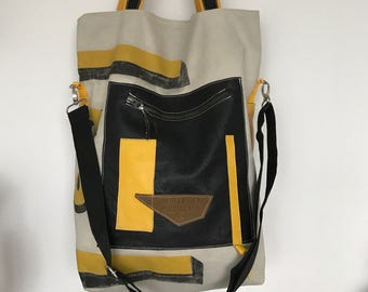 LAST PIECE Harland & Wolff recycled canvas tote bag 5/4 with leather front pocket