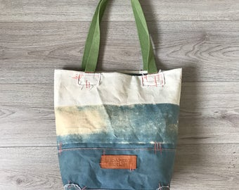 Faded blue canvas tote bag