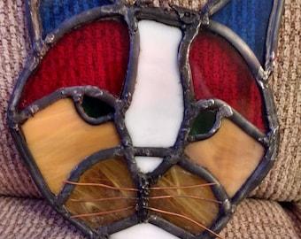 Handmade stained glass cat, suncatcher