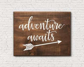 Adventure Awaits - Adventure Awaits Sign - Arrow Sign - Wooden Arrow Sign - Rustic Arrow Sign - Arrow Nursery Decor - Wooden Traveler Sign