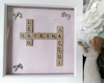 Scrabble Wall Art. Family Tree. Scrabble Frame Gift. Personalised Frame.Wedding, Wedding Anniversary Birthday Best Friend Personalised Gift