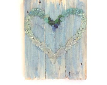 Seaglass picture Seaglass Heart Mosaic Coastal decor Unique gift Recycled timber Wall Art Chalk Paint wash Valentine Gift Heart Handmade
