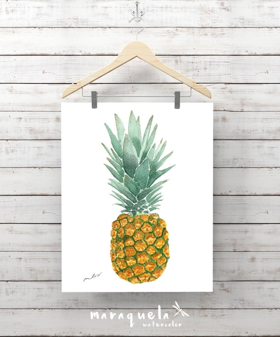 Original pineapple watercolor handmade. Cool pineapple decoration, ananas, colorful, funny, ideas decor kitchen, living-room, fresh decor