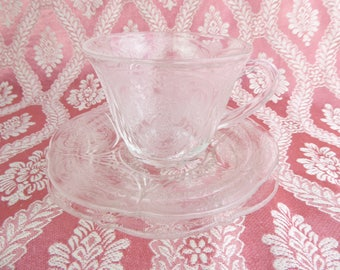 Glass tea set, trio set, pressed glass, Hazel Atlas ' Royal Lace' in 'Crystal' colourway, cup, saucer and tea plate
