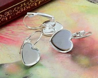 12mm Silver Plated Heart Earring Blanks Cabochon Settings Bezel Earrings French Lever backs Earring Components Trays Cups Jewelry Supplies