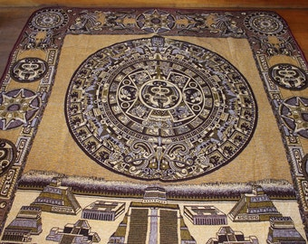 Mayan Mexican Bedspread/Blanket Hand Made with Brilliant Gold and Burgundy Stitching