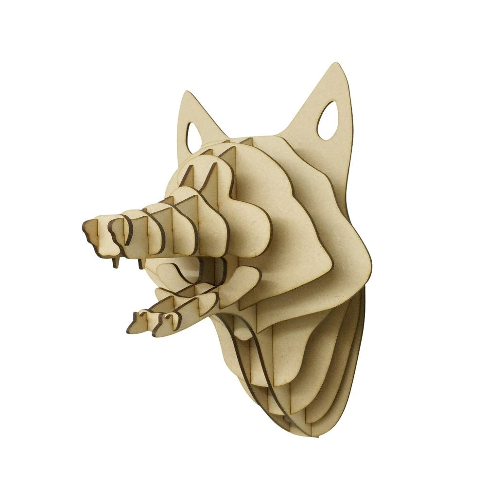 Large small wooden fox trophy 3d animal head wall art home for Animal head wall decoration