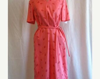 On Sale 1960's Shift Day Dress in Rose Linen Blend