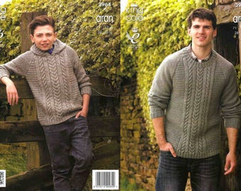 King Cole Knitting Pattern 3964~Cabled Sweater & Hoodie~Aran~28-46""
