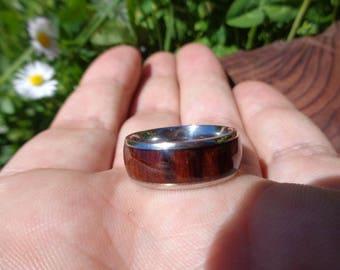 Titanium Wood Ring,Gifts for men,Wedding Ring,Mens Ring,Titanium Mens Ring Koa Wood inlay Band Ring,Wedding Ring,Oval Mens Wedding Ring