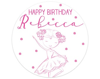 Girl Birthday Party Decorations | Ballerina Birthday Party Stickers | Ballerina Birthday Party Decor | Printed Party Stickers | Australia