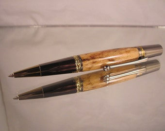 Majestic squire. Gold and Black Titanium pen. Spalted maple wood.
