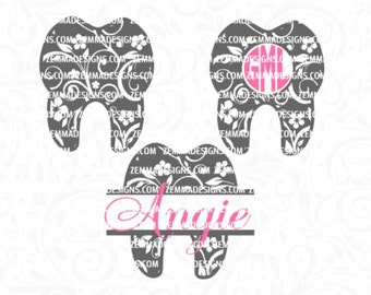 Tooth svg - flourish tooth bundle - Dentist svg -  file types. .DXF .SVG, .PNG Silhouette studio-cutting file- commercial use