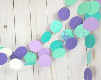 Mermaid - Purple and Aqua Blue and Aqua Glitter Circle Garland
