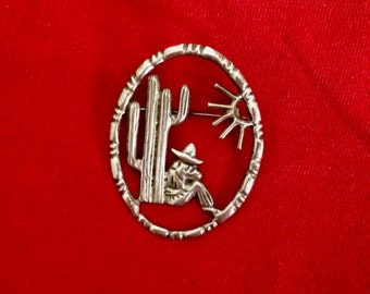 SITTING SUN: Vintage Mexican Silver Pin
