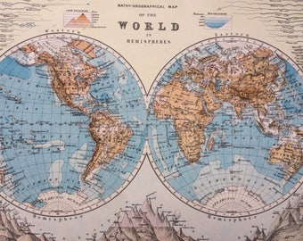 1899 The World In Hemispheres (Bathy-Orographical) Original Antique W & A.K Johnston map showing rivers and mountains, Wall Decor