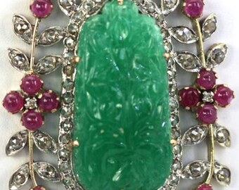 Antique carved chrysophase pendant with Diamonds and Rubies and drop pearl