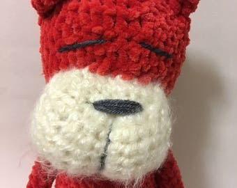 Hand Crocheted Strawberry Chenille Cat