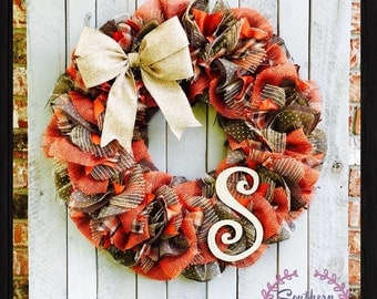 Fall THANKSGIVING wreath - Autumn Wreath - Fall Decor - Mesh Wreath