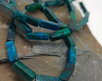 Chrysocolla Azurite Cuboid  Beads Fabulous Tones 14 mm Turquoise Green Blue Gemstone Beads  Crysocolla Beads  Cube beads  Rectangle 2 BEADS