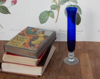 Vintage Blue Glass Vase, Shabby Chic, Retro , Boho, Flower Vase.Home Decor, Vintage Glass.