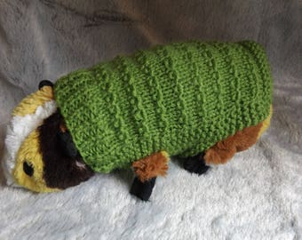 """6.5"""" Guinea Pig Sweater, Hand Knitted to Keep Guinea Pig Warm This Fall, Knitted in Apple Green"""
