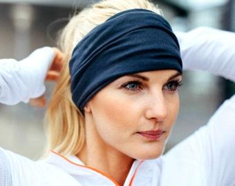 Black Headband Wide Headband Yoga Headband Boho Headband Running Headband Womens Hair Accessories Black Headwrap Nonslip Headband