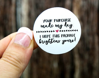 Thank You Labels | Packaging Stickers | Multiple Sizes | Thank You Stickers | Shop Supplies | Shipping Supplies | Your Purchase Made My Day