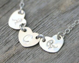 Personalized Heart tags silver necklace,up to 10 initials,925 sterling silver Monogram custom stamped letter, 3 4 5 6 7 8 9 10 Mother family