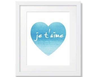 Crèche de l'Art, Printable Art bleu, garçon pépinière numérique, bleu clair, Je t'aime, coeur bleu, bébé garçon pépinière Art, Art de révéler de sexe