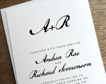 Kalligraphie Monogramm Hochzeitseinladung - Printable Hochzeitseinladung - PDF Vorlage - Hochzeitseinladung zum Selberdrucken - PDF Download