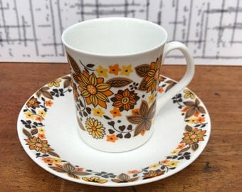1960s Elizabethan Carnaby English Fine Bone China Coffee Cup and Saucer in Flower Power Floral Patterns