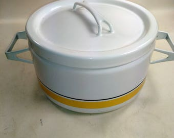 Handsome Enamel 3 Quart Covered Casserole Pot/White With Yellow And Black Strips/Used Condition (V)