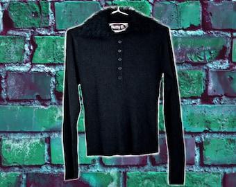 90s Black Shaggy Neckline Collared knit Sweater