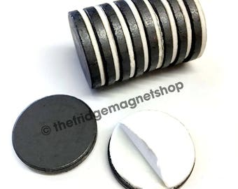 Self Adhesive Round Magnets Pack of 10 Ferrite Extra Strong Craft Fridge 25mm x 3mm Circles Dots