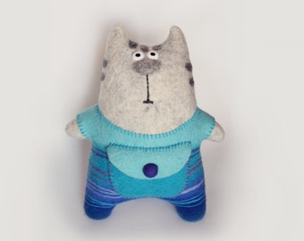 toy cat, stuffed animal cat, kids toy, blue, purple, gray, Christmas gift, funny cat, cute cat,