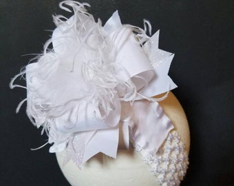Solid White Over The Top Boutique Hairbow Ostrich Feather