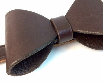Leather Bow Tie | Dog Bow Tie | Brown Leather Bow Tie | Bow Tie for Dogs