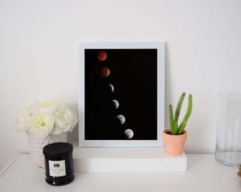Moon Phases Digital Print | Wall Art | Solar Eclipse | Printable