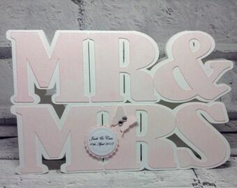 Handmade personalised wedding card, MR & MRS wedding card